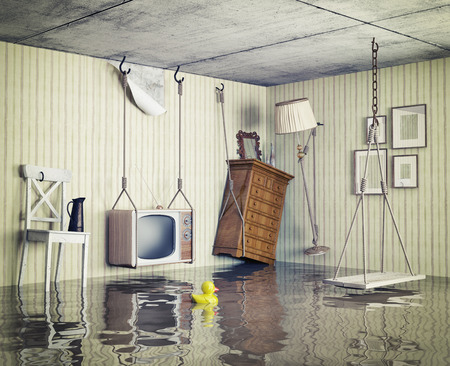 wet: ordinary life in the flooded flat. 3d concept