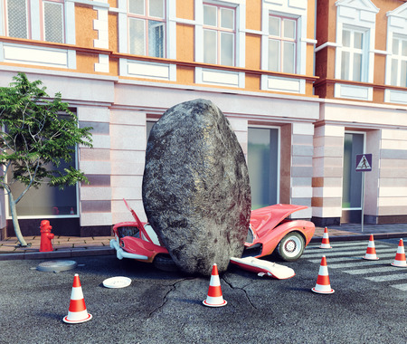meteorite fell on a parked car. 3d concept photo