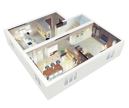 ground floor: Plan view of an apartment.Ground floor. Clear 3d interior design.  Stock Photo