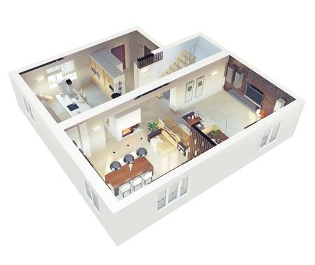 in ground: Vista in pianta di un piano apartment.Ground. Interior design 3d Chiaro.