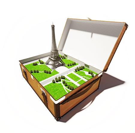 Paris city in open suitcase. 3d concept