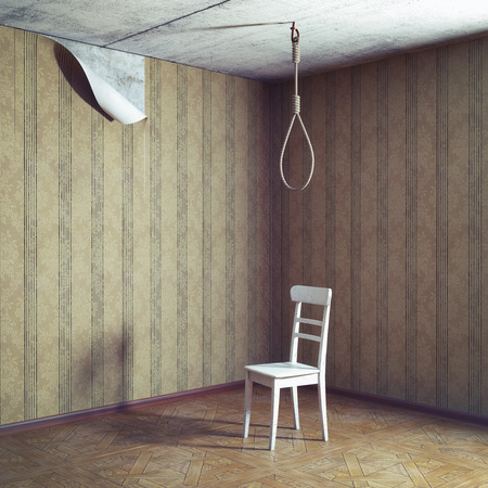 chair and noose in empty grunge room. 3d concept photo