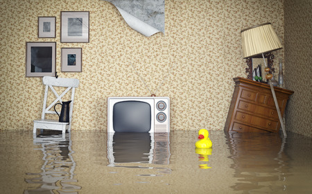 Flooded vintage interior. 3d concept  photo