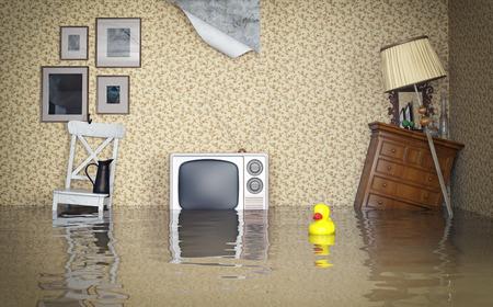 Montage: Jahrgang Innenraum geflutet. 3D-Konzept Lizenzfreie Bilder