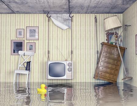 Gewöhnlichen Leben in der überschwemmten Wohnung. 3D-Konzept Standard-Bild - 29305288