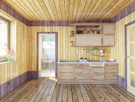 country kitchen: kitchen in the country house. 3d design concept