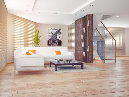 modern living room interior. contemporary 3d concept