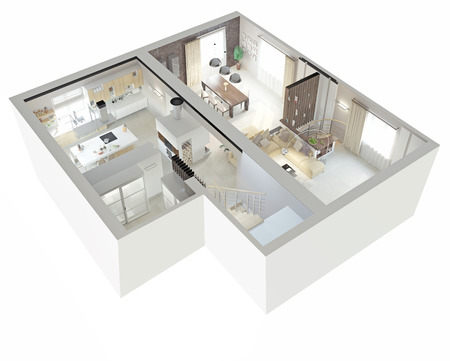 high view: Plan view of an apartment.Ground floor. Clear 3d interior design.  Stock Photo