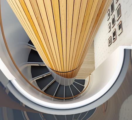 modern spiral staircase interior. 3d concept