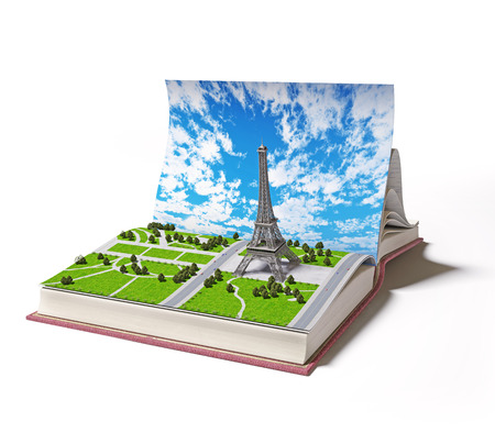 book concept: Paris  in the open book. 3d concept  Stock Photo