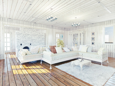 wood blinds: Provence rural house interior. Design concept Stock Photo