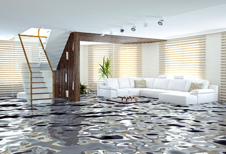 mopping: flooding in luxurious interior. 3d creative concept