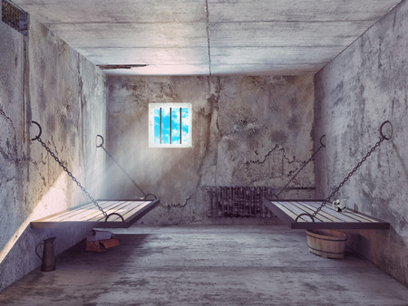 dirty jail cell interior. 3d concept  스톡 콘텐츠