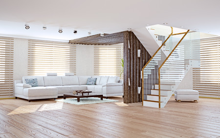 a blind: Modern living room interior. Contemporary design concept