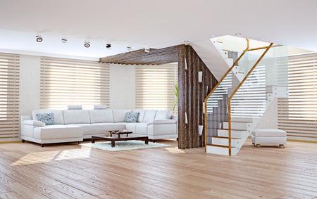 Design D\'intérieur Loft Moderne (concept 3d) Banque D\'Images Et ...