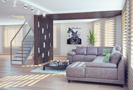현대 거실 인테리어. 현대 차원 개념