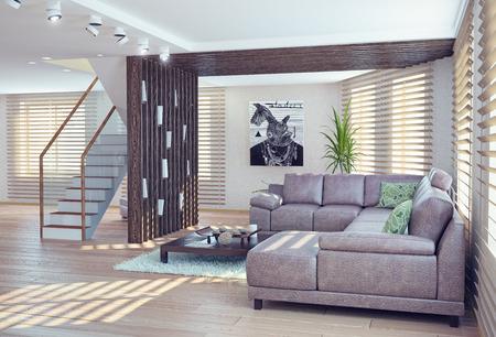 Modernen Wohnzimmer Innenraum. moderne 3D-Konzept Standard-Bild - 30120793