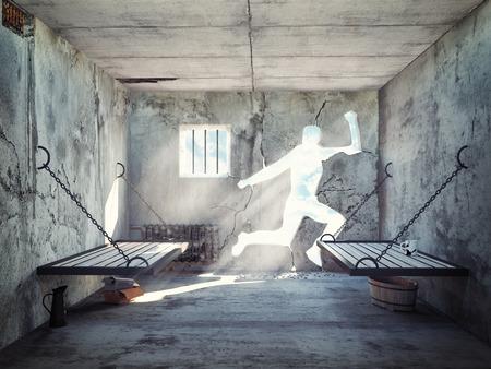 rejas de hierro: escapar de una celda de la prisión. 3d concepto