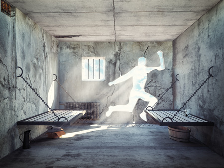 escape from a prison cell. 3d concept Stock Photo