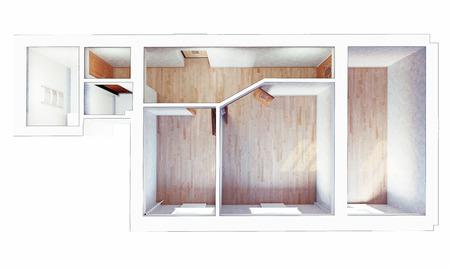 modern flat interior design. the top view. 3d photo