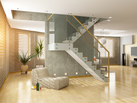 wood blinds: modern loft  interior  design (3d concept)