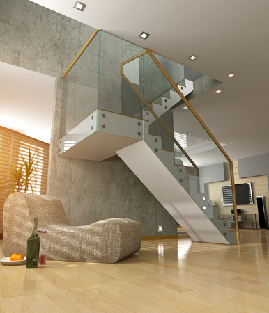 concrete stairs: modern interior design (private apartment 3d rendering concept)