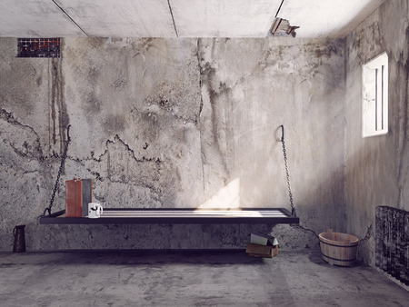 jail cell: dirty jail cell interior. 3d concept