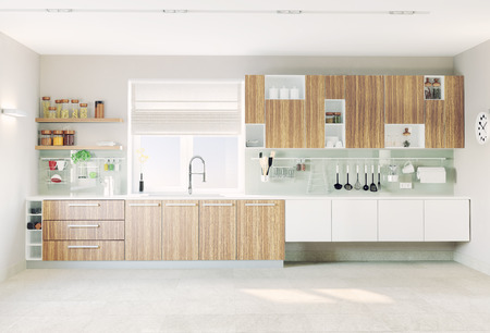contemporary kitchen: modern kitchen interior (CG concept)  Stock Photo