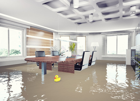 mopping: flooding office interior. 3d concept