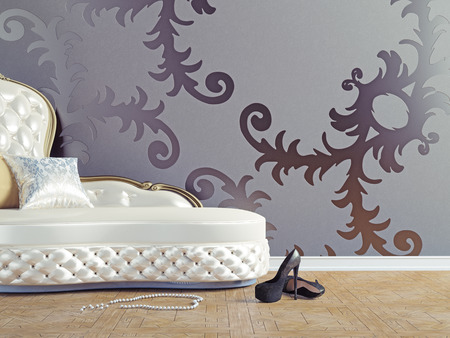 styled: vintage sofa and wallpaper wall (3d illustration)  Stock Photo