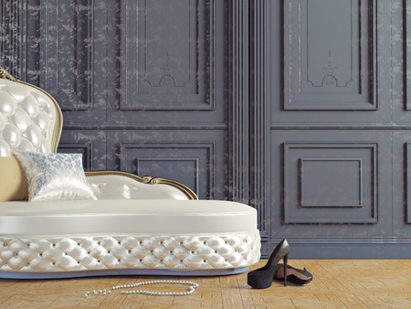 daybed: the vintage sofa and near the  wall (3d illustration)