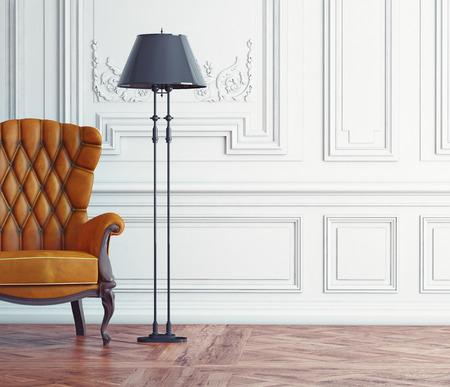 sillón de cuero en el interior clásico. 3d concepto