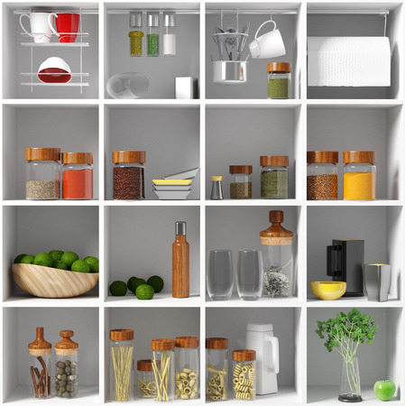 kitchen equipment on the white shelf. 3d concept photo