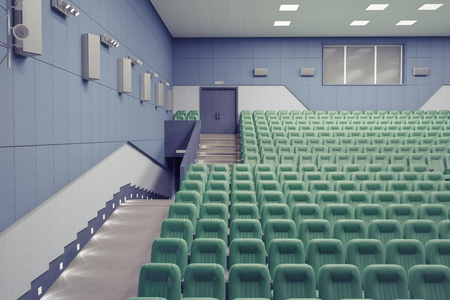 armrest: empty green armchairs in modern theater Hall Stock Photo