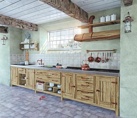 美しい古いスタイルのキッチンのインテリア。3 D コンセプト 写真素材 - 33170366