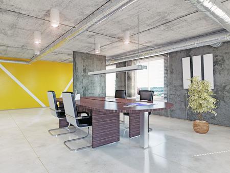 近代的なオフィス インテリア。3 d デザイン コンセプト