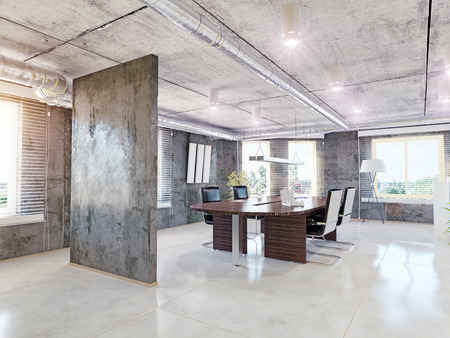 concrete room: modern office interior. 3d design concept