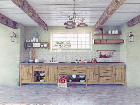 casa colonial: hermoso interior de la cocina de estilo antiguo. Concepto 3D