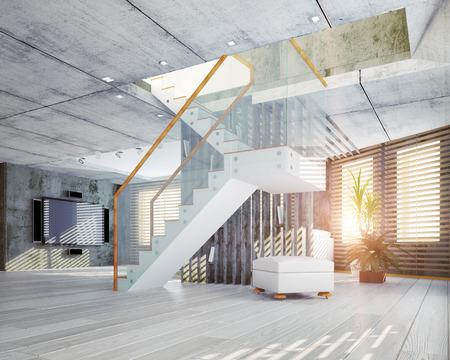 Modern loft interior. Contemporary design concept 3d Stock Photo