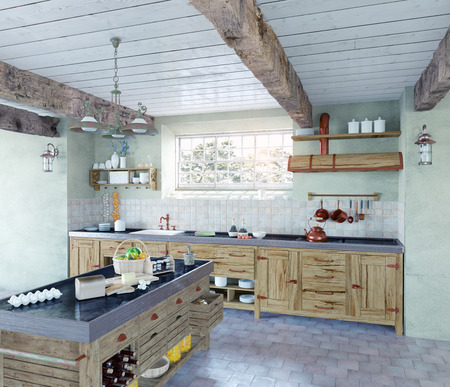 美しい古いスタイルのキッチンのインテリア。3 D コンセプト