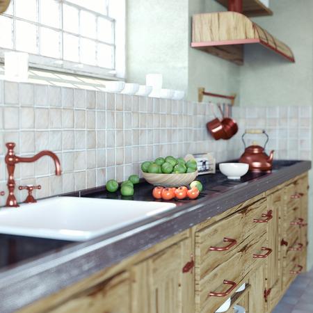 cocina vieja: primer plano interior de la cocina de la vendimia (DOF essect. 3d concepto) Foto de archivo