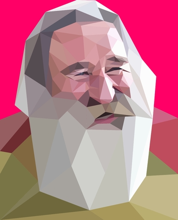 gray beard: Trendy low poly style portrait of laughing old man with gray beard Stock Photo