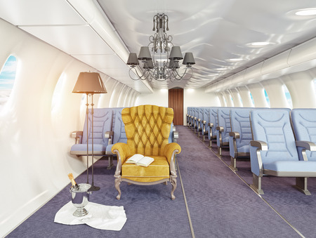 luxury armchair in airplane cabin. 3d creativity concept