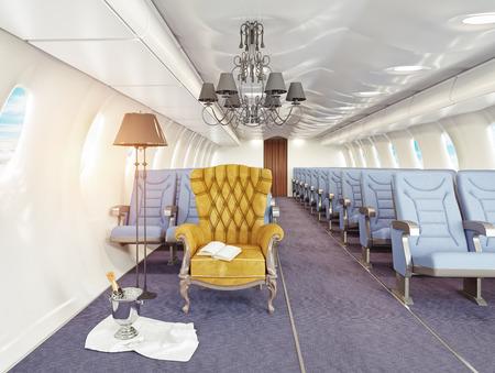 luxury armchair in airplane cabin. 3d creativity concept