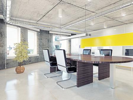 ufficio aziendale: interno di ufficio moderno. 3d concetto di design