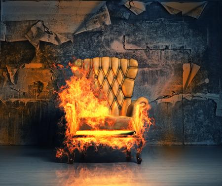 brandende fauteuil in de grunge interieur. 3D illustratie creatief concept