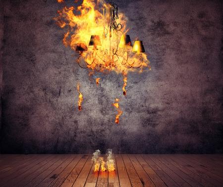 グランジ インテリアで燃えているシャンデリア。3 D イラスト創造的な概念