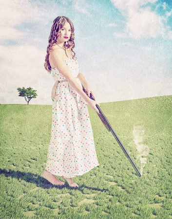 craquelure: Vintage card syile- beautiful young girl hunter . Creative concept photo and cg elements combinated Stock Photo