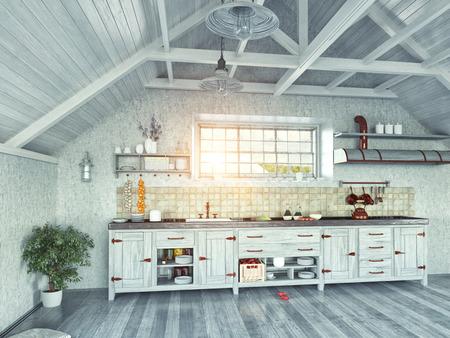 Moderní kuchyně interiér s ostrovem v podkroví (3d koncept)