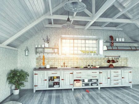 fan ceiling: modern kitchen interior with  island in the attic (3d design concept) Stock Photo